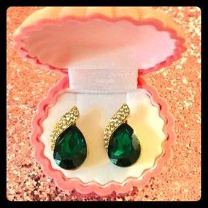 💛💚Gold & Green Crystal Dangle Earrings💚💛